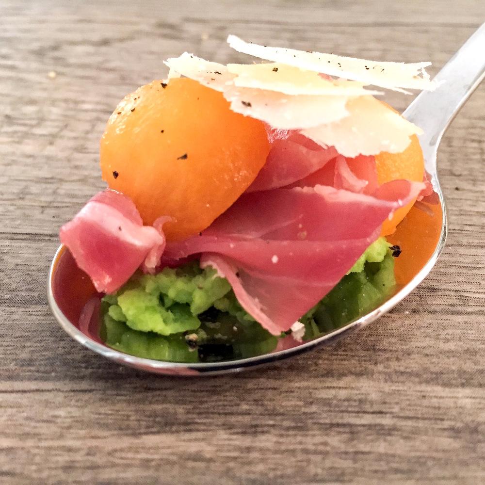 Fava Bean, Prosciutto & Melon Spoon | RafaellaSargi.com