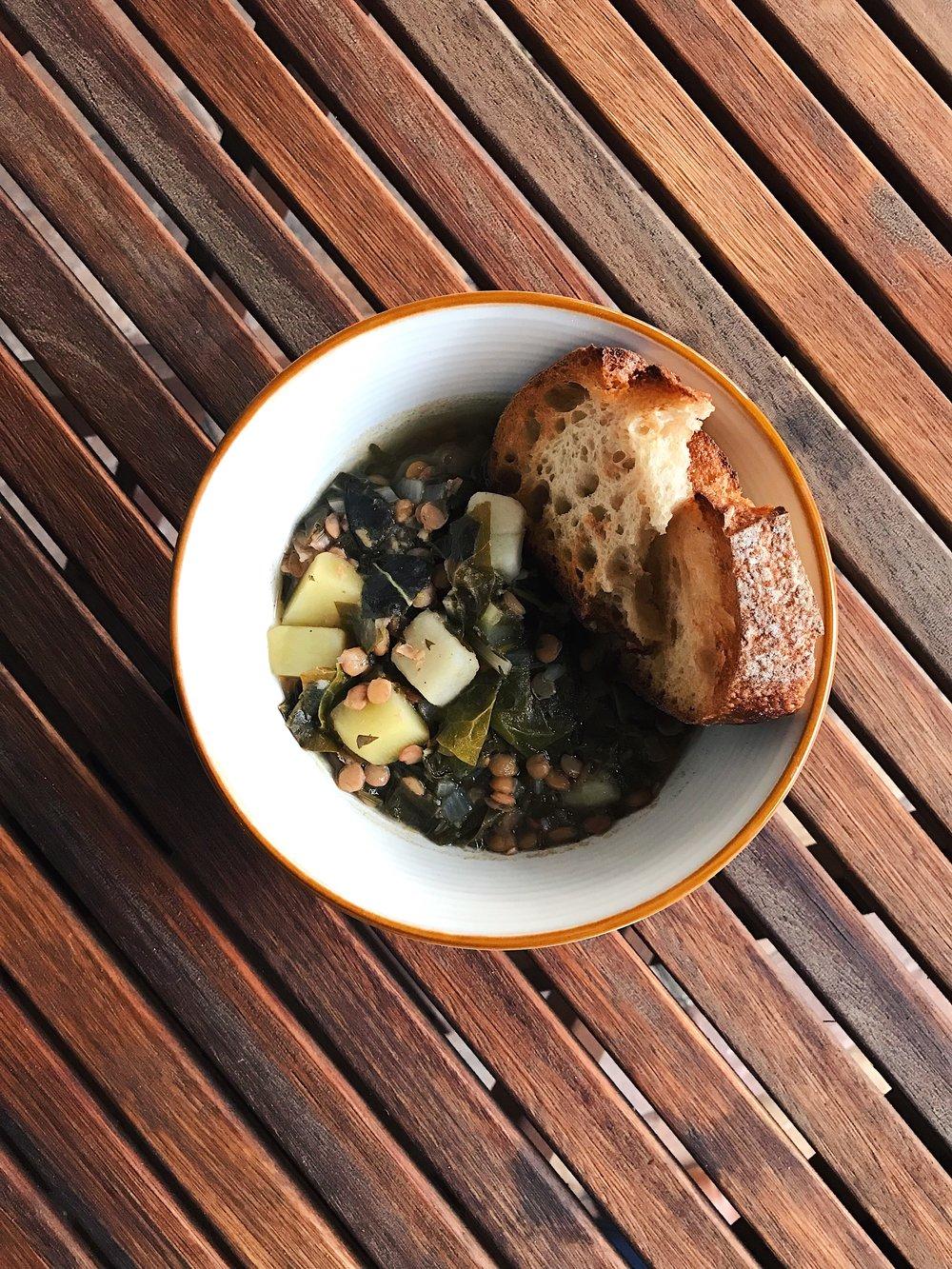 Adas bi Hamod | Lemony Lentil and Swiss Chard Stew | RafaellaSargi.com