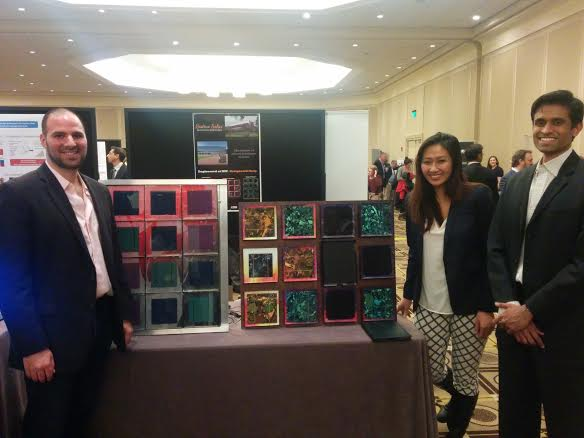 The Sistine Solar team with their prototypes at the 2014 MIT Energy Conference. Image courtesy of Sistine Solar.
