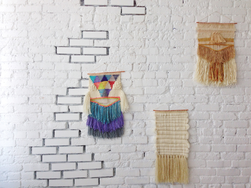 Maryanne's weavings on display in the DLF studio