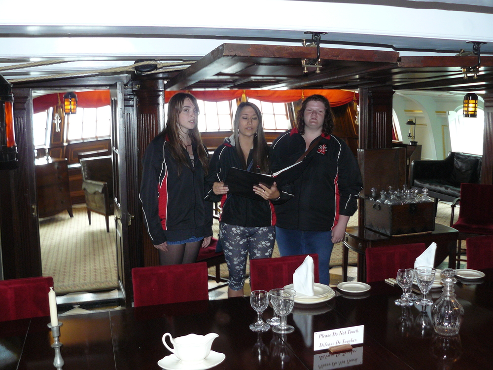Singing in Lord Nelson's personal cabin on the HMS Victory!