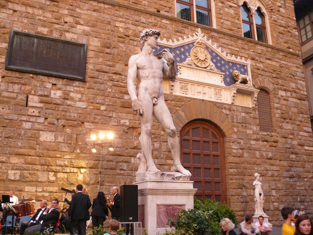 The replica of the Statue of David outside of City Hall, where the original stood when it was first commissioned. The original is now in the Accademia Gallery.
