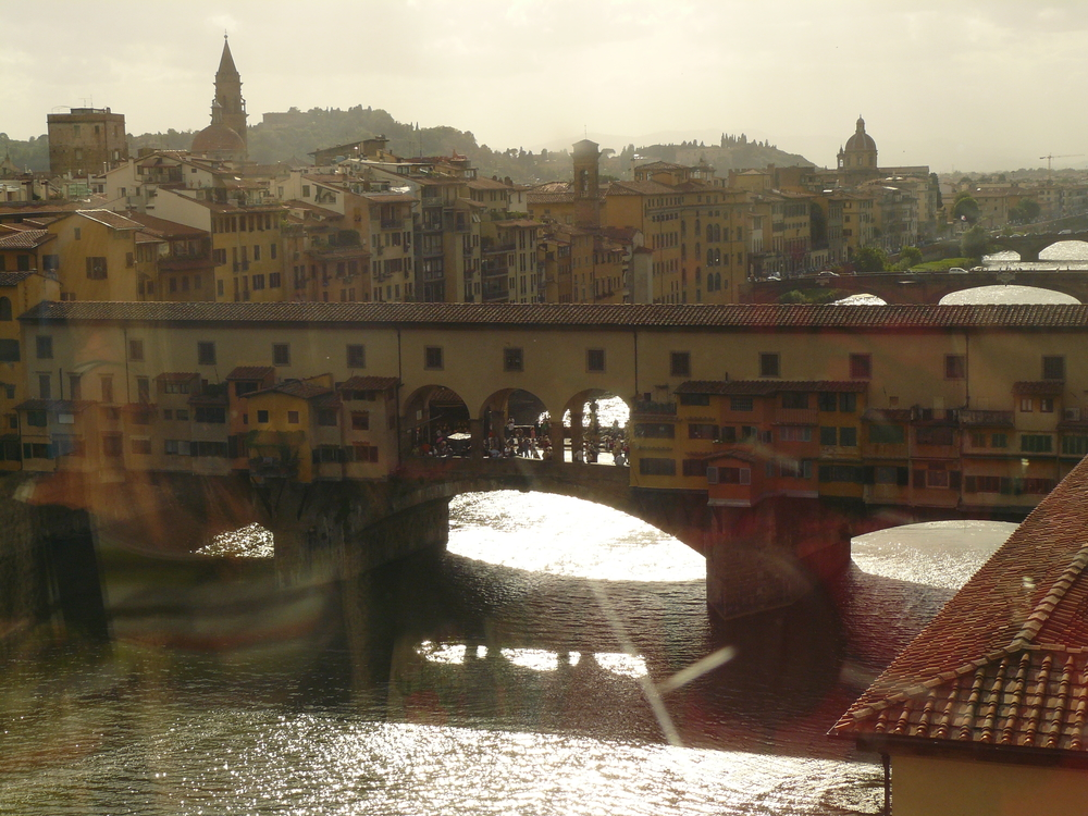 The Pont de Vecchio (Bridge on the River Vecchio) in the late afternoon.