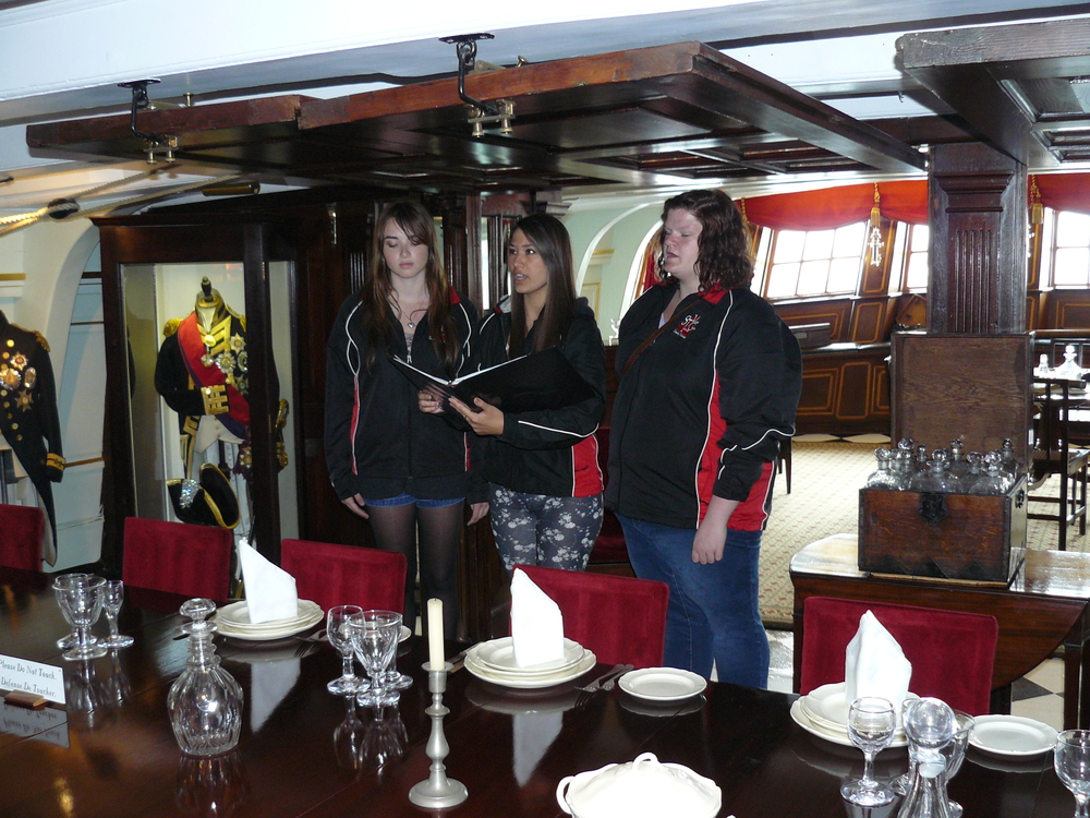 Singing in Lord Nelson's cabin on the HMS Victory.