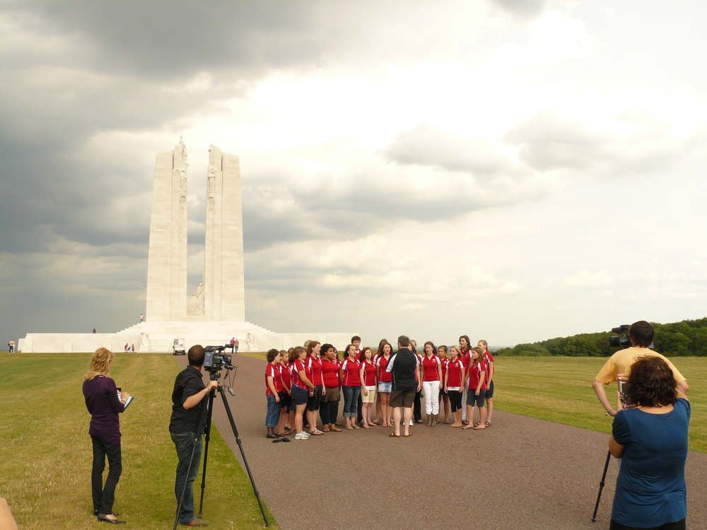 A local news crew interviews us after our visit to Vimy Ridge.