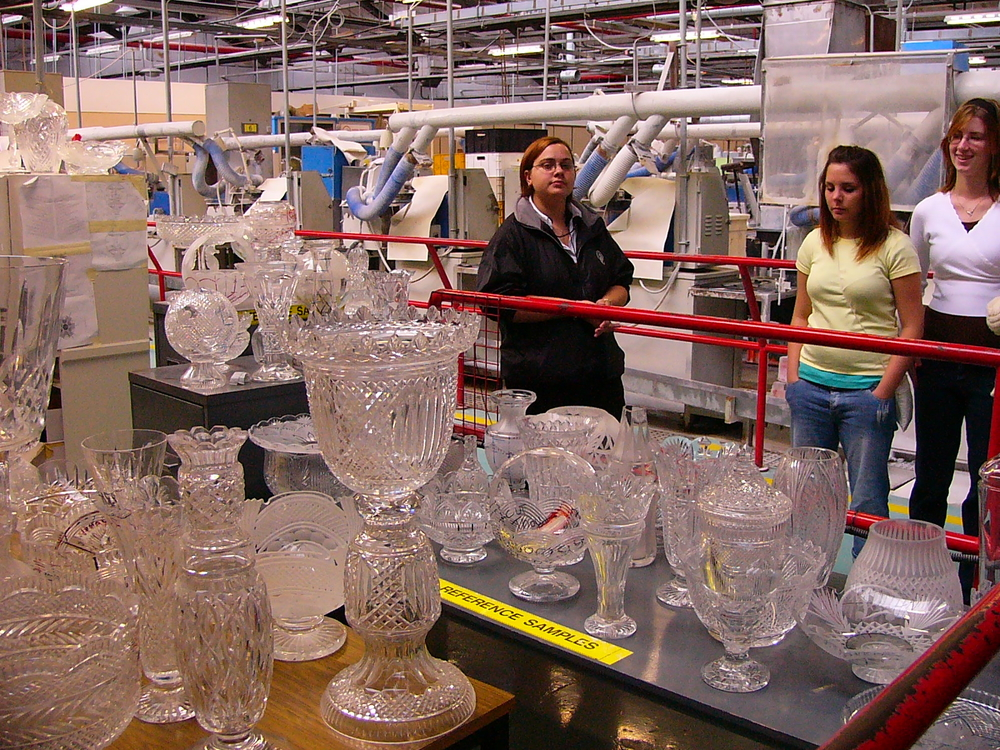 Touring the Waterford Crystal factory in Waterford, Ireland.