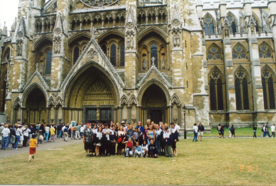 The choir in front of Westminster Abbey in London.