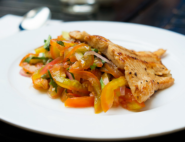 Grilled Fish and Tomato Salad at Friends the Restaurant