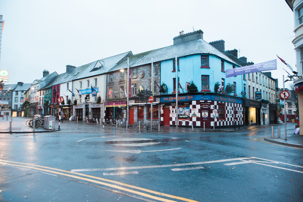 Dawn hits the rainy streets of Galway.