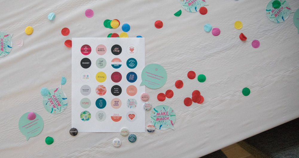 Ashley created some button designs to start us off, and then people could also use a circle template to make their own buttons!