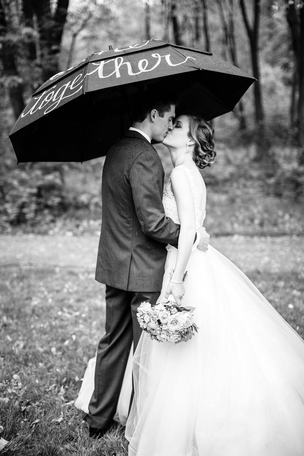 Rain Umbrellas Wedding Day Bride Groom Wedding Party St Louis Wedding Photographer Oldani Photography 2.jpg