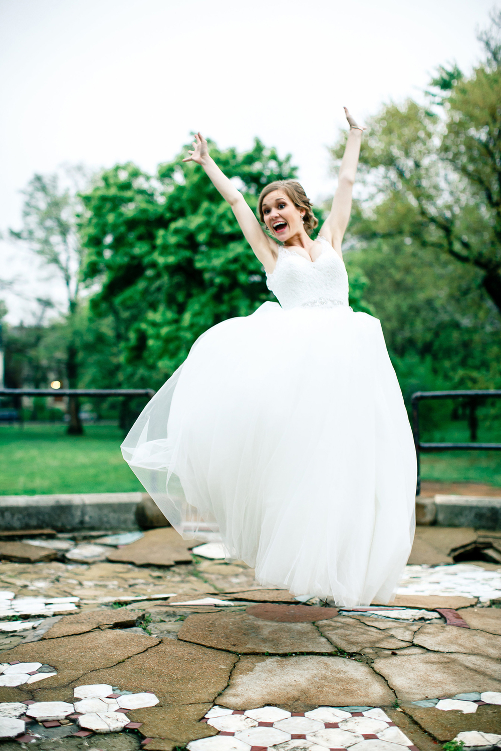 Bride Groom Jumping Lafayette Square Park St Louis Wedding Photographer Oldani Photography 1.jpg