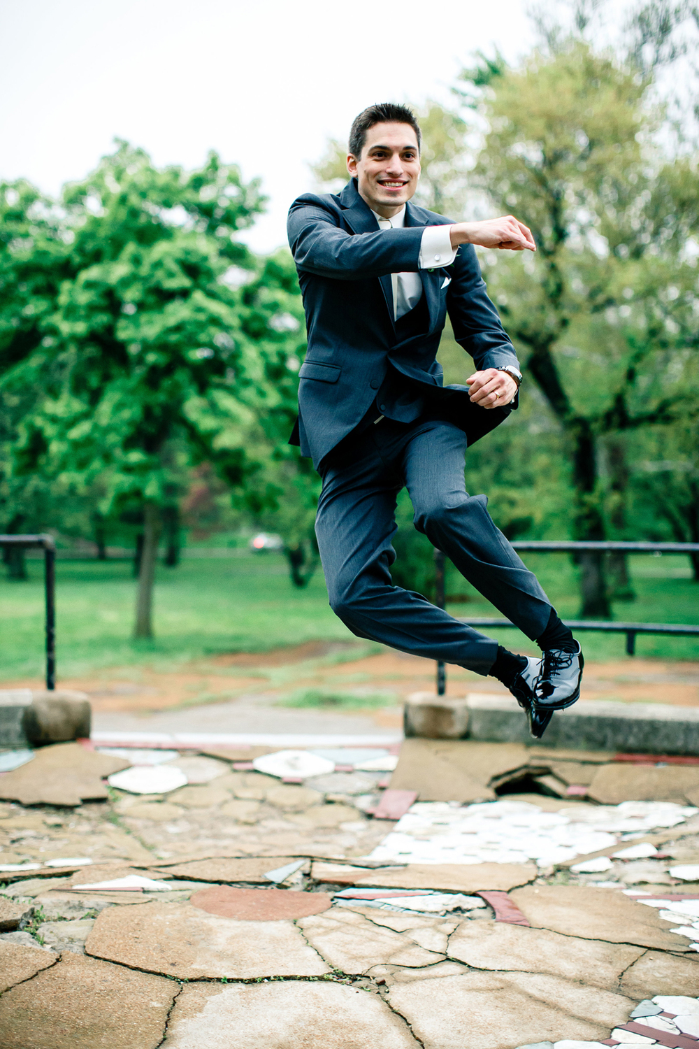 Bride Groom Jumping Lafayette Square Park St Louis Wedding Photographer Oldani Photography 2.jpg