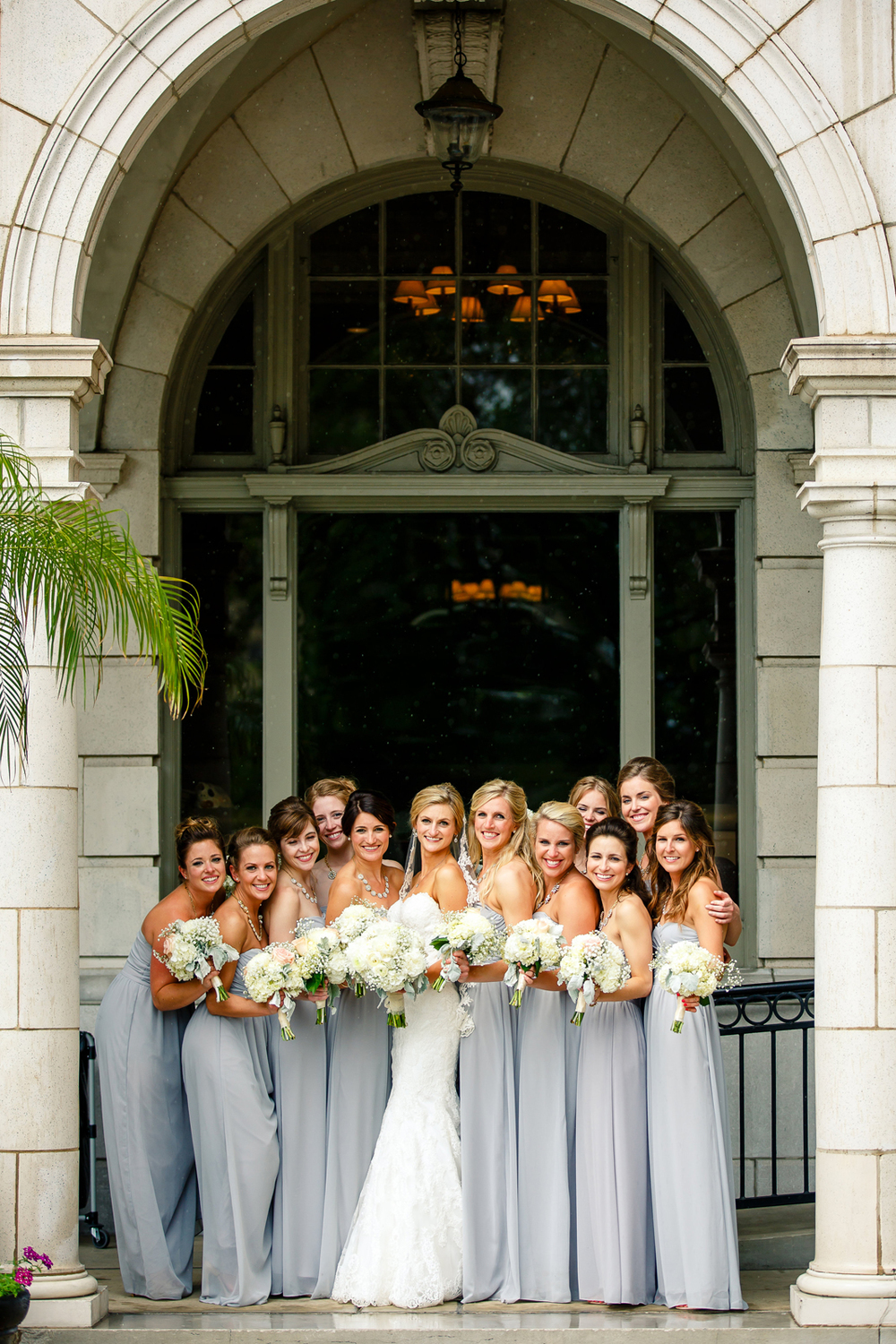 Bride Groom Wedding Party Gray Grey Black Tux Tuxedos Veil St. Louis Wedding Photographers by Oldani Photography 1.jpg