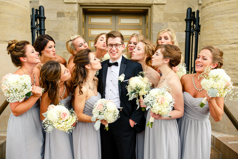 Wedding Party on Steps of Bride Groom Old Cathedral Basilica of Saint Louis, King of France Downtown St. Louis Wedding Photographers by Oldani Photography 5.jpg