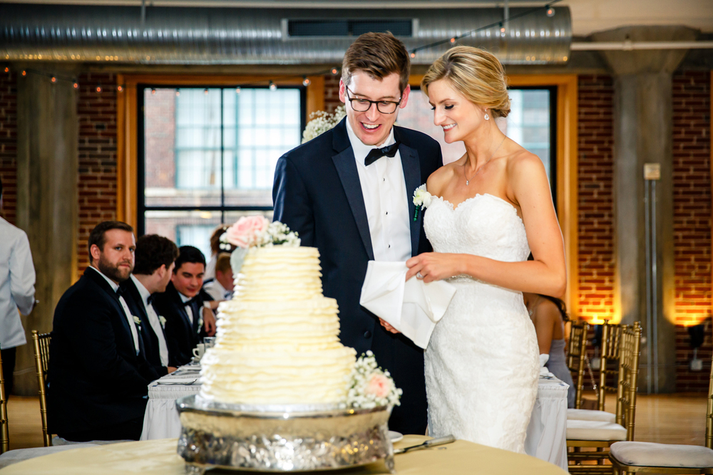 Gold Reception Windows on Washington Cutting Cake Bride Groom St Louis Wedding Photographer by Oldani Photography.jpg