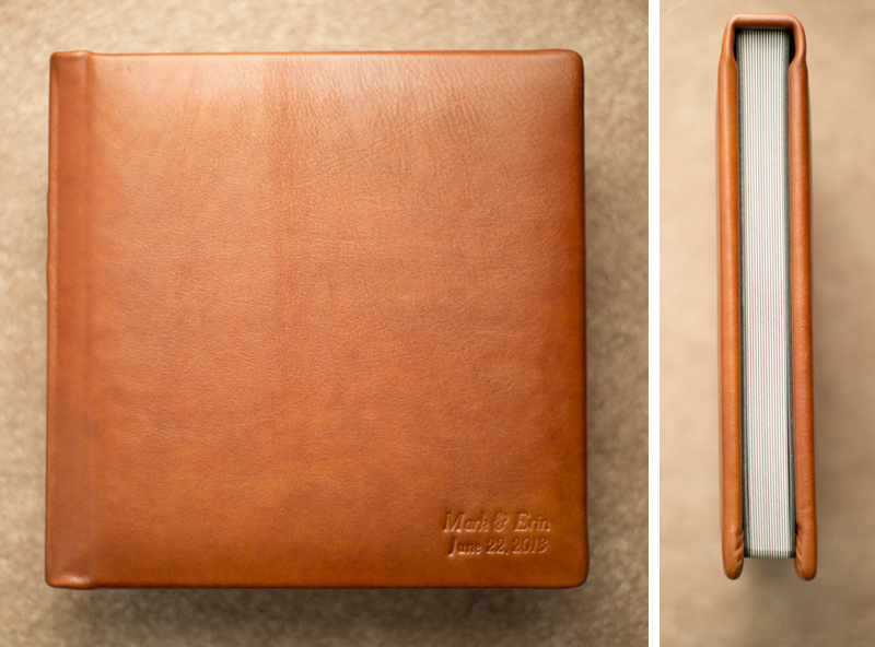 Classic leather heirloom album with blind embossing on the bottom right corner