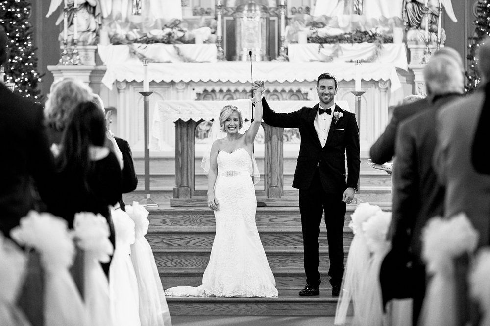 St Charles Winter Wedding at St Peter Catholic Church Photographs by St Louis Wedding Photographers Oldani Photography