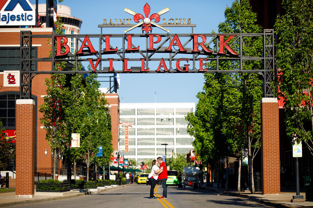 Busch Stadium and Forest Park Engagement Photos by St Louis Wedding Photographers and Videographers Oldani Photography 4.jpg