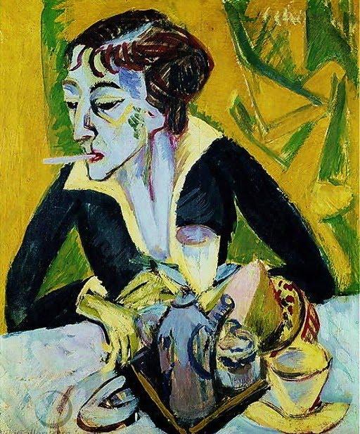 1915 Ernst Ludwig Kirchner (German Expressionist, 1880-1938)  Erna with Cigarette.jpg