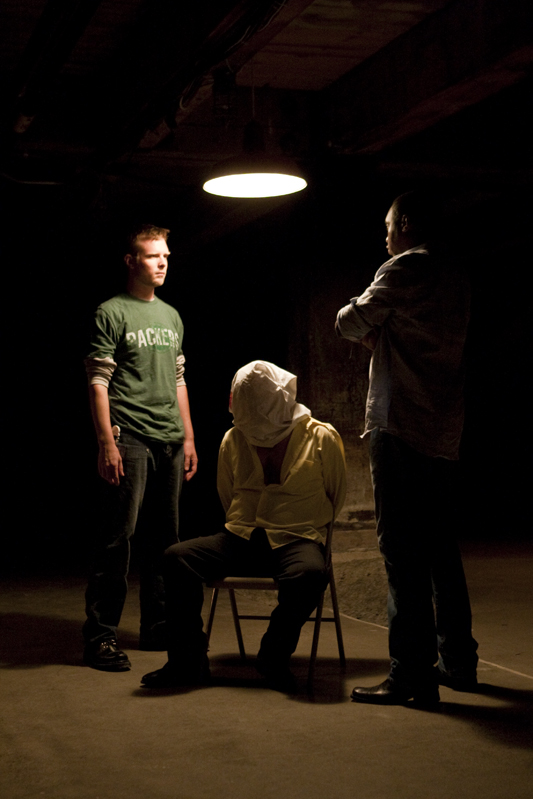"From left: Adam Sanders, Brian Sergent, and Carols M. Williams in ""New World Order"""