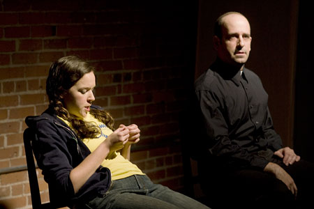 """The Greening of Bridget Kelly""  James Barton as Priest and Becca A. Lewis as Bridget Kelly"