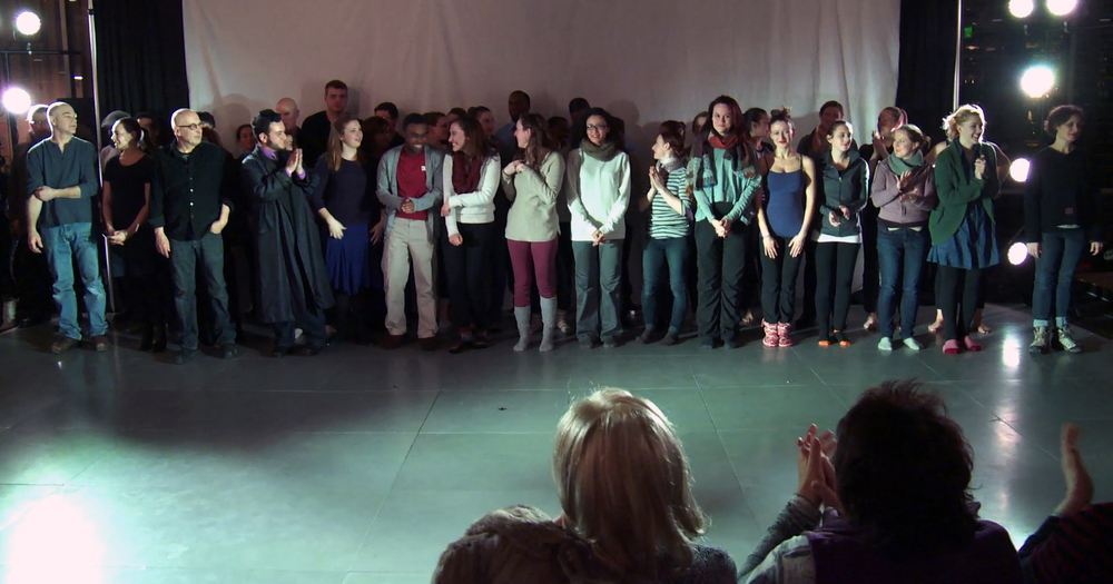 Most of the cast & crew take a curtain call/photo courtesy FPTC