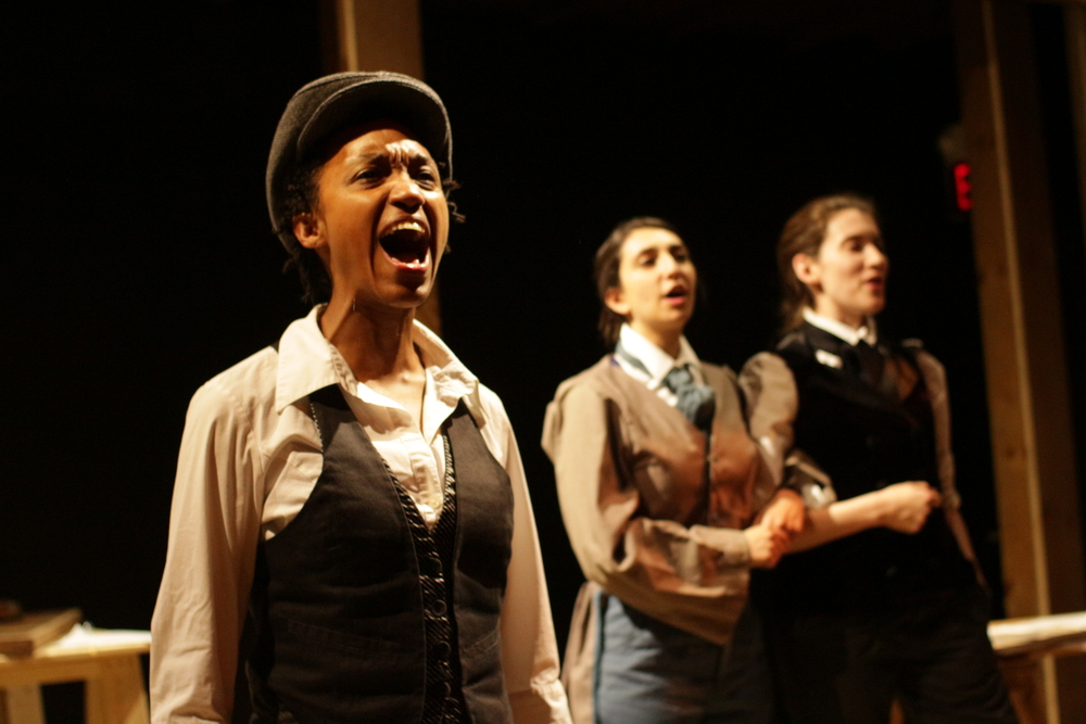 Robin JaVonne Smith as Anna Lion, Shanie Schwartzman as ensemble member, and Bailey Libby as Alexander Hays, featured in Fort Point Theatre Channel's premiere production of Dreambook photo copyright 2016 Roberto Mighty