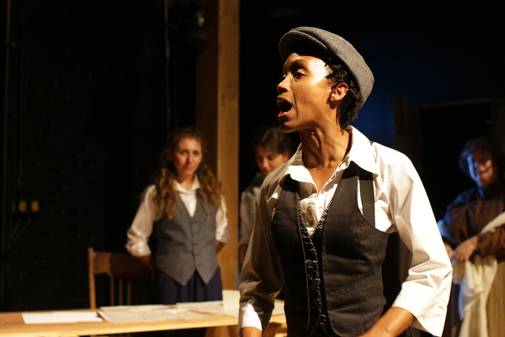 Robin JaVonne Smith as Anna Lion, with, left to right, Rebecca Lerman at the office boy, Caitlin Gjerdrum as Judah Touro, and Karen Dervin as Reverend Clapp, featured in Fort Point Theatre Channel's premiere production of  Dreambook  photo copyright 2016 Roberto Mighty