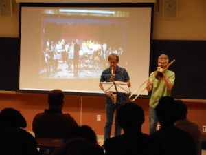 Jorrit Dijkstra (sax) and Jeb Bishop (trombone) improvising around a video of Qasim's music.