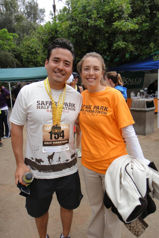 Dr. Yoo and Amber at the 2012 San Diego Zoo Safari Park Half Marathon.