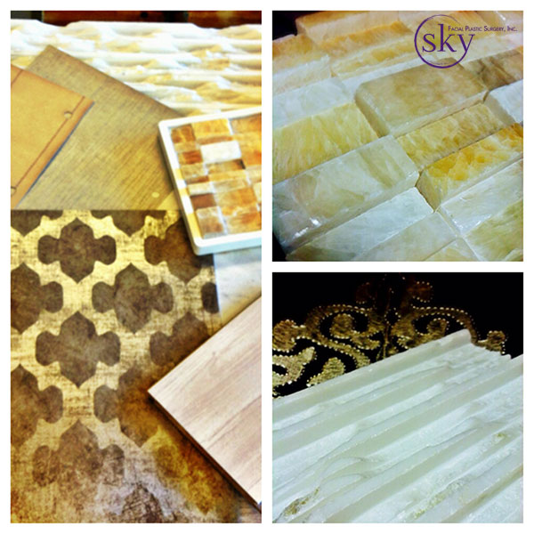 Clockwise: flooring samples, tile around reception desk, tile for wall behind reception desk