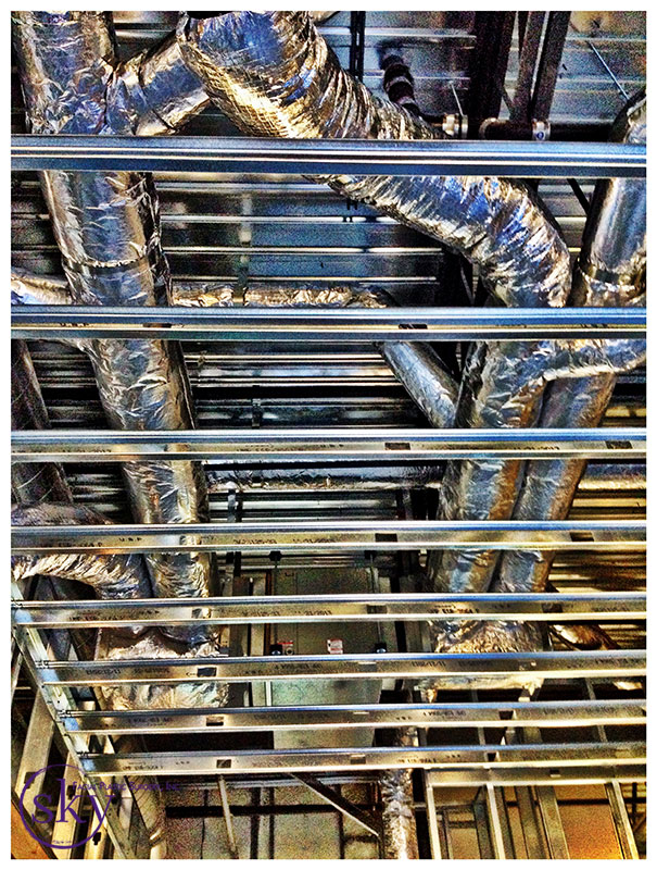 PHOTO: HVAC tubing above the ceiling