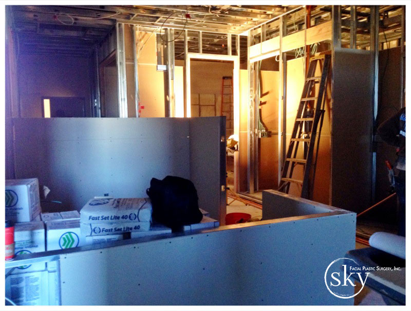 PHOTO: The drywall is up on the assistant station