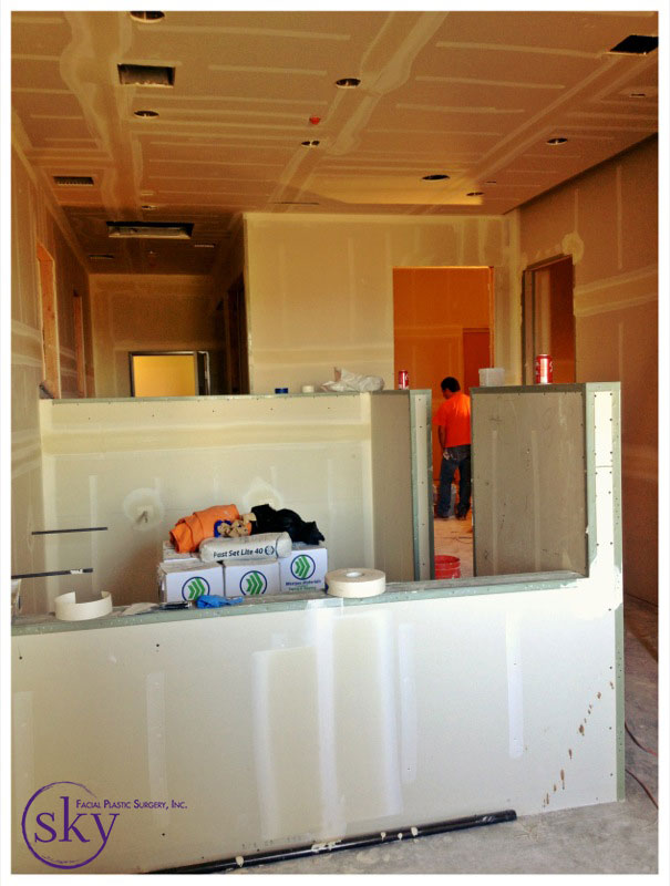 PHOTO: The assistant station has drywall that is plastered.
