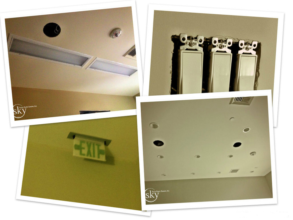 PHOTO: Collage of progress with eletrical. Lights and switches installed.