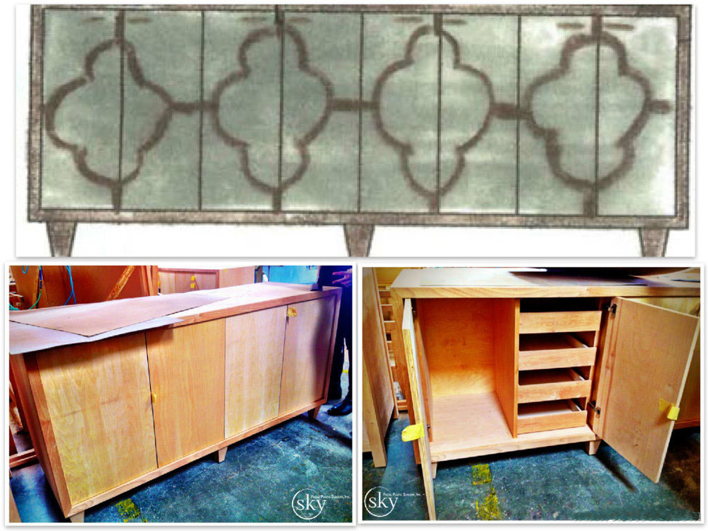 PHOTO: Collage of the concept credenza compared to the construction of it.