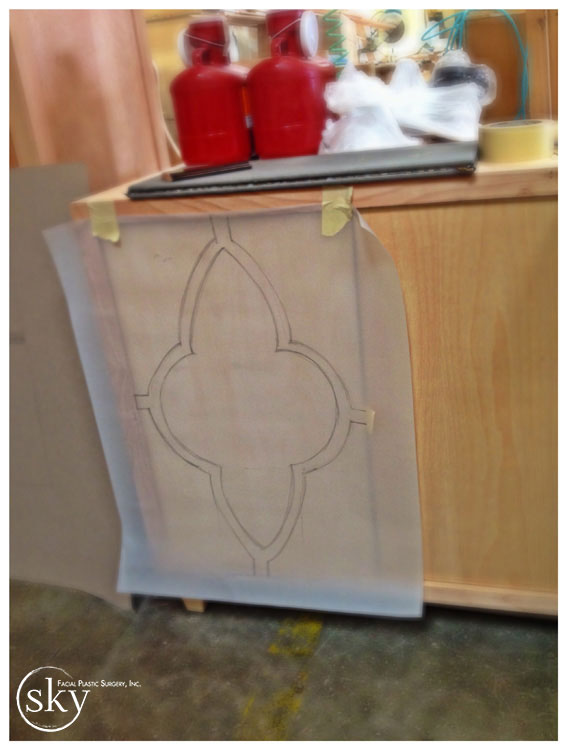 PHOTO: Design sketch taped to door of credenza.
