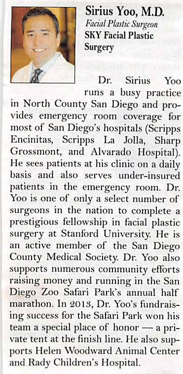 PHOTO: Dr. Yoo's profile published in the San Diego Business Journal.