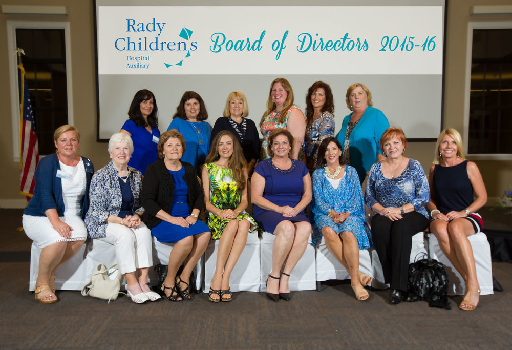 Amber (fourth from the left) with fellow Rady Children's Hospital Auxiliary board members following the induction ceremony.