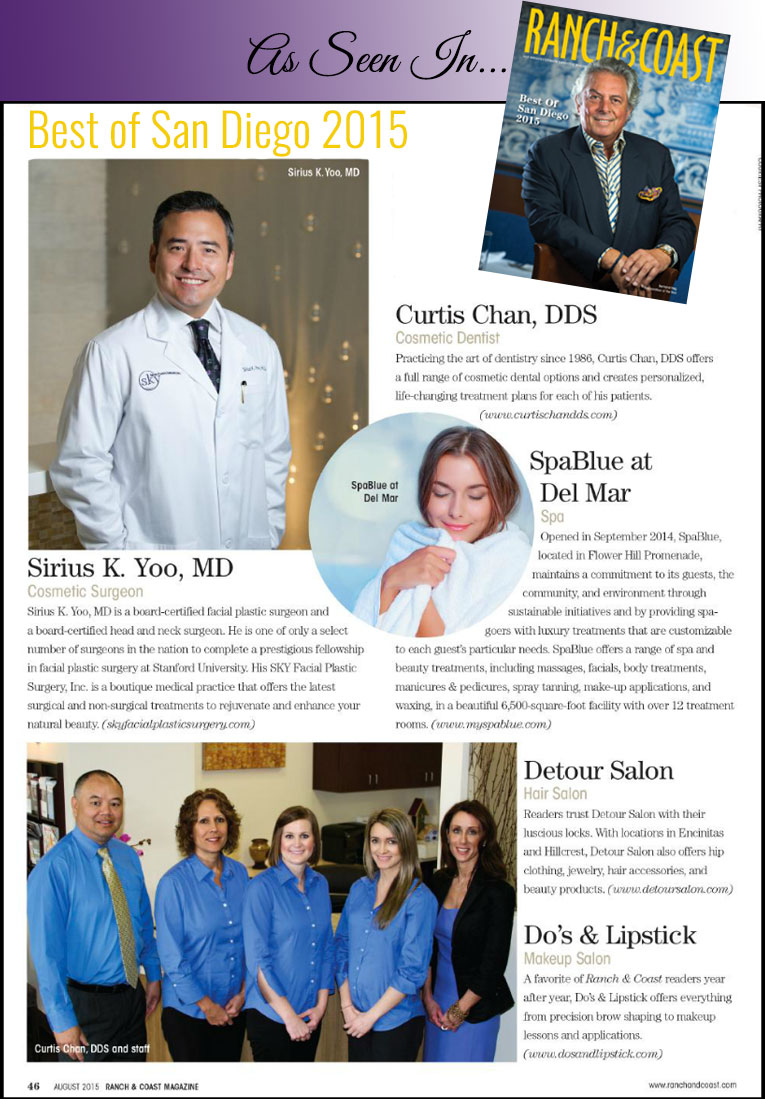 PHOTO: Ranch and Coast magazine's feature of Sirius K. Yoo, M.D. voted Best Cosmetic Surgeon in San Diego 2015