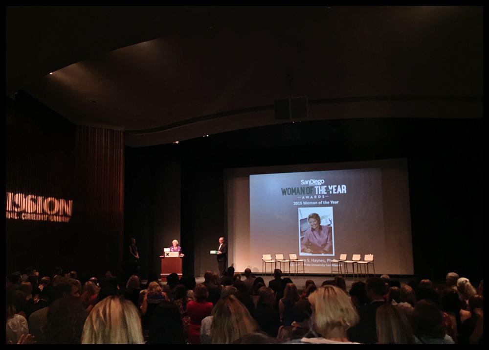 PHOTO: San Diego Woman of the Year winner, Karen Haynes, accepting her award.