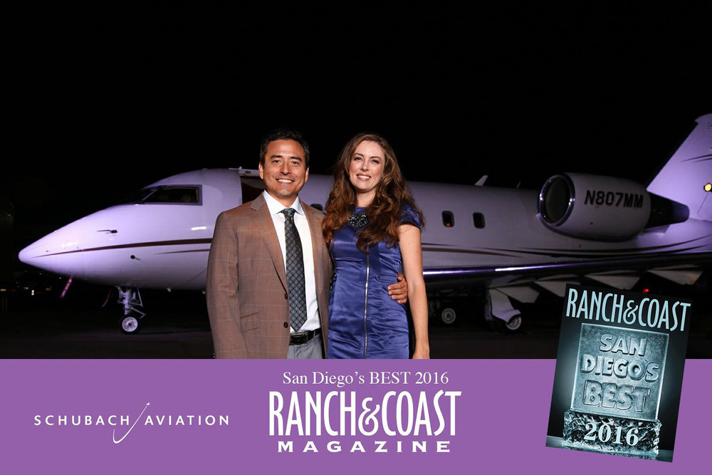"Sirius K. Yoo, M.D. with wife Amber at Ranch & Coast Magazine's ""Best of San Diego"" celebration, held at Schubach Aviation's private hangar."