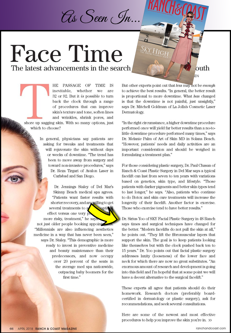 """PHOTO: The """"Face Time"""" article quoting Dr. Yoo in the April issue of Ranch & Coast Magazine."""