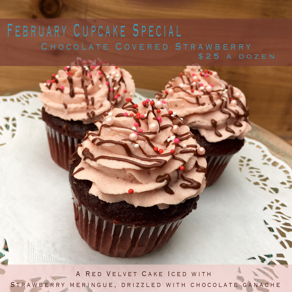 Just for your sweetheart - Our chocolatey red velvet cake, iced in strawberry meringue drizzled with ganache. These can be done last minute! Give us a call & you can pick them up within the hour that you call.