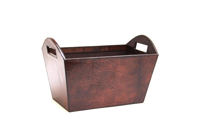 Leather Magazine Bin, Brown   16×9.5×10.5h   WSHG318SB