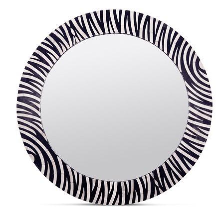 "Zafar Zebra Pattern Bone Mirror   36""D   MGZAFAR"