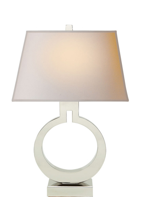 "Small Ring Table Lamp in Polished Nickel with Natural Paper Shade  20.25""h   VCCHA8969PN -NP  Also Available in Antique-Burnished Brass, Alabaster, Bronze, Crystal, Gilded, and Sheffield Nickel"