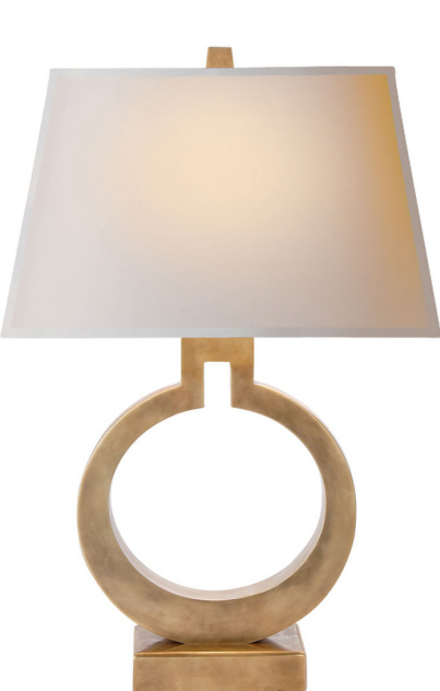 "Large Ring Table Lamp in Antique Burnished Brass with Natural Paper Shade  27""h   VCCHA8970AB -NP  Also Available in Alabaster, Crystal, Gold, and Bronze"