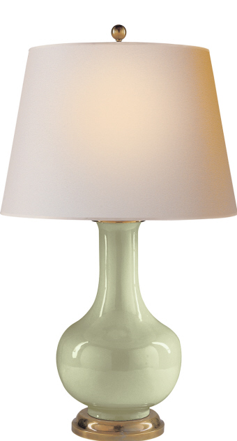 "Large Narrow Neck Vase Table Lamp in Celadon Crackle   19×32""h   VCCHA8617CC"